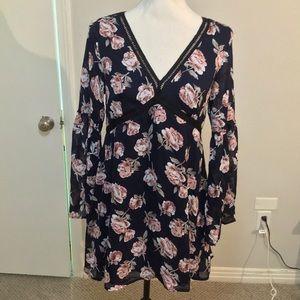 Flirty, navy floral dress.  Lucca, BNWT